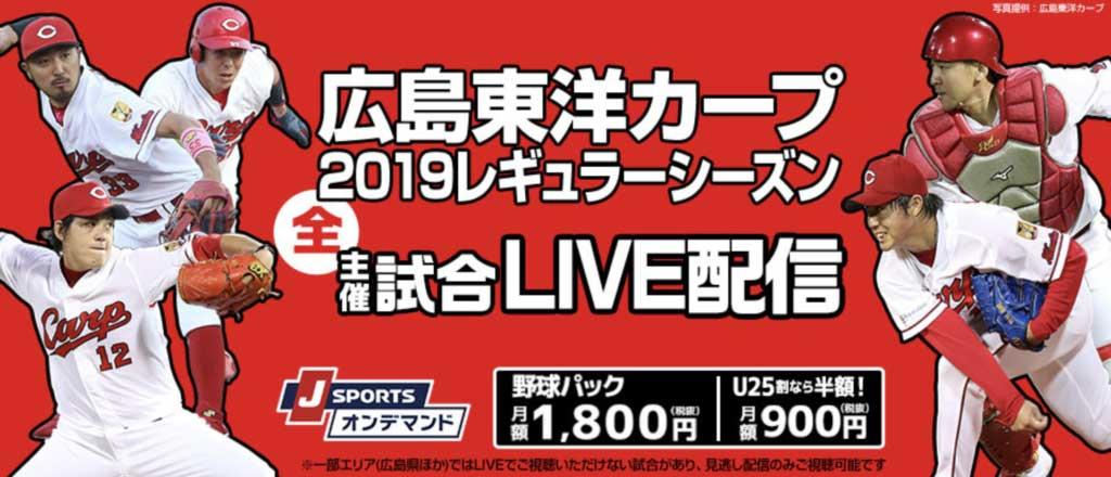 広島カープの主催試合(ホームゲーム)なら「J SPORTS オンデマンド」でネット中継